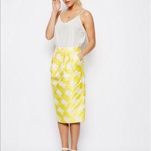 ASOS Skirts - ASOS Textured Yellow Midi Skirt